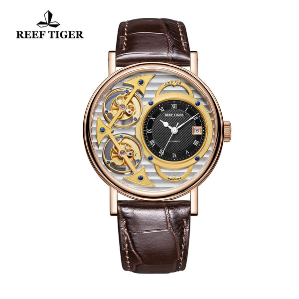 Reef Tiger Artist Magician Mens Luxury Skeleton Dial Leather Strap Automatic Watch RGA1995-PSSB