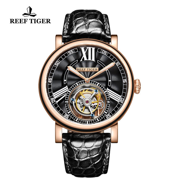 Reef Tiger Artist Graver Fashion Men Rose Gold Genuine Leather Strap Tourbillon Watches RGA1999-PBB