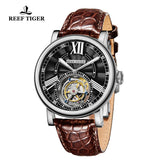 Reef Tiger Artist Graver Fashion Men Steel Genuine Leather Strap Tourbillon Watches RGA1999-YBB
