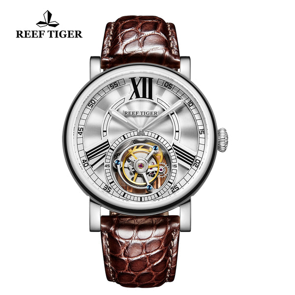 Reef Tiger Artist Graver Fashion Men Steel Genuine Leather Strap Tourbillon Watches RGA1999-YWS