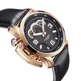 Reef Tiger Aurora Rally S2 Rose Gold Mens Quartz Watches with Leather Strap RGA2105