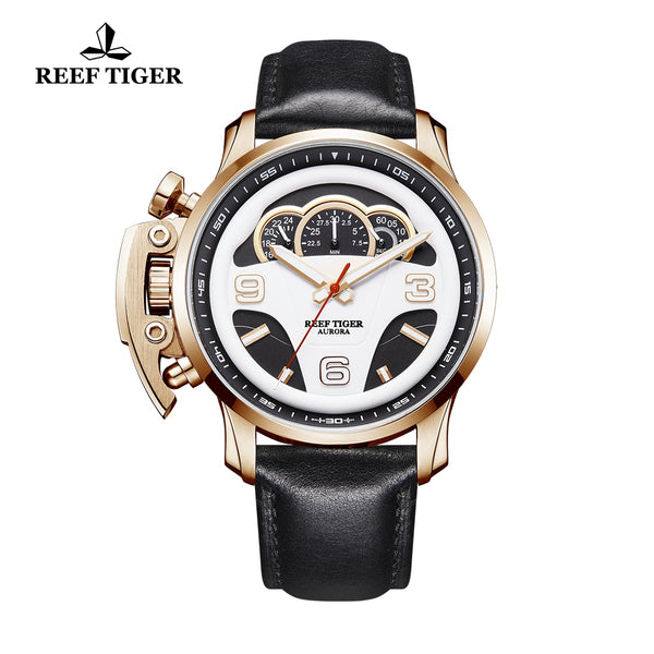 Reef Tiger Aurora Rally S2 Mens Fashion Rose Gold Quartz Watches with Leather Strap RGA2105