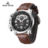 Reef Tiger Men Sport Racing Dashboard Quartz Watch with Leather Strap RGA2105