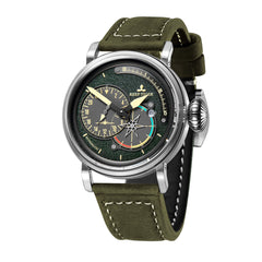 Reef Tiger Mens Fashion Green Leather Strap Steel Case Watch with Date RGA3019