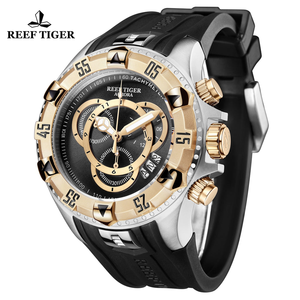 Reef Tiger Aurora Hercules II Fashion Steel/Rose Gold Mens Black Dial Quartz Watch RGA303-2-YBBG