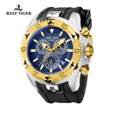 Reef Tiger Sport Yellow Gold Steel Blue Dial Rubber Strap Chronograph RGA303