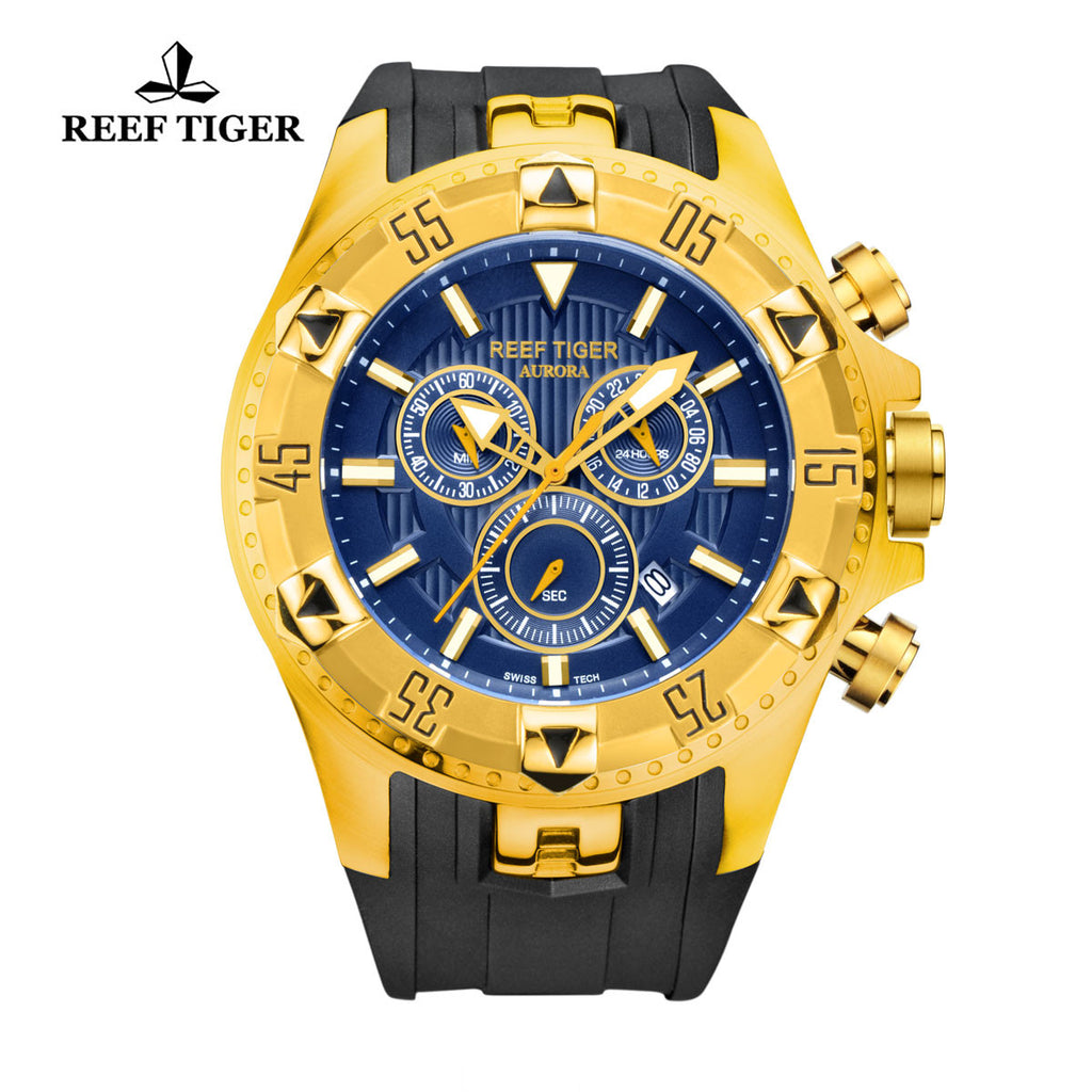 Reef Tiger Sport Blue Dial Yellow Gold Rubber Strap Chronograph RGA303