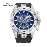 Reef Tiger Sport Steel Rubber Strap Blue Dial Chronograph Watch RGA303