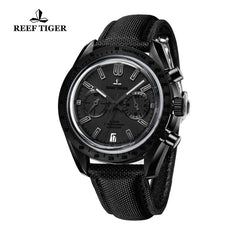 Reef Tiger Sport Chronograph Nylon Strap Luminous Black Watch with Date RGA3033
