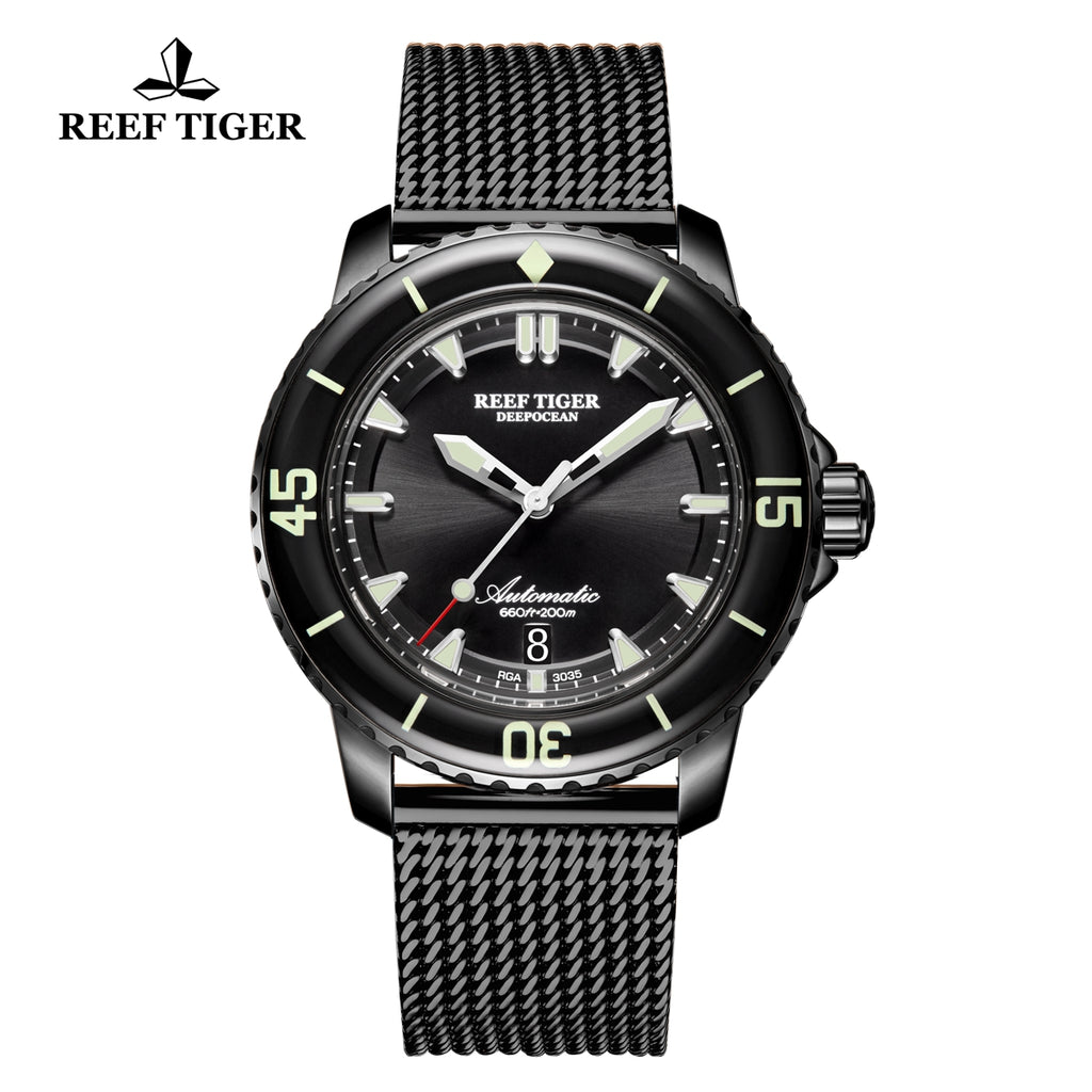 Reef Tiger Super Luminous Dive Black Watch with PVD Strap RGA3035-BBBS