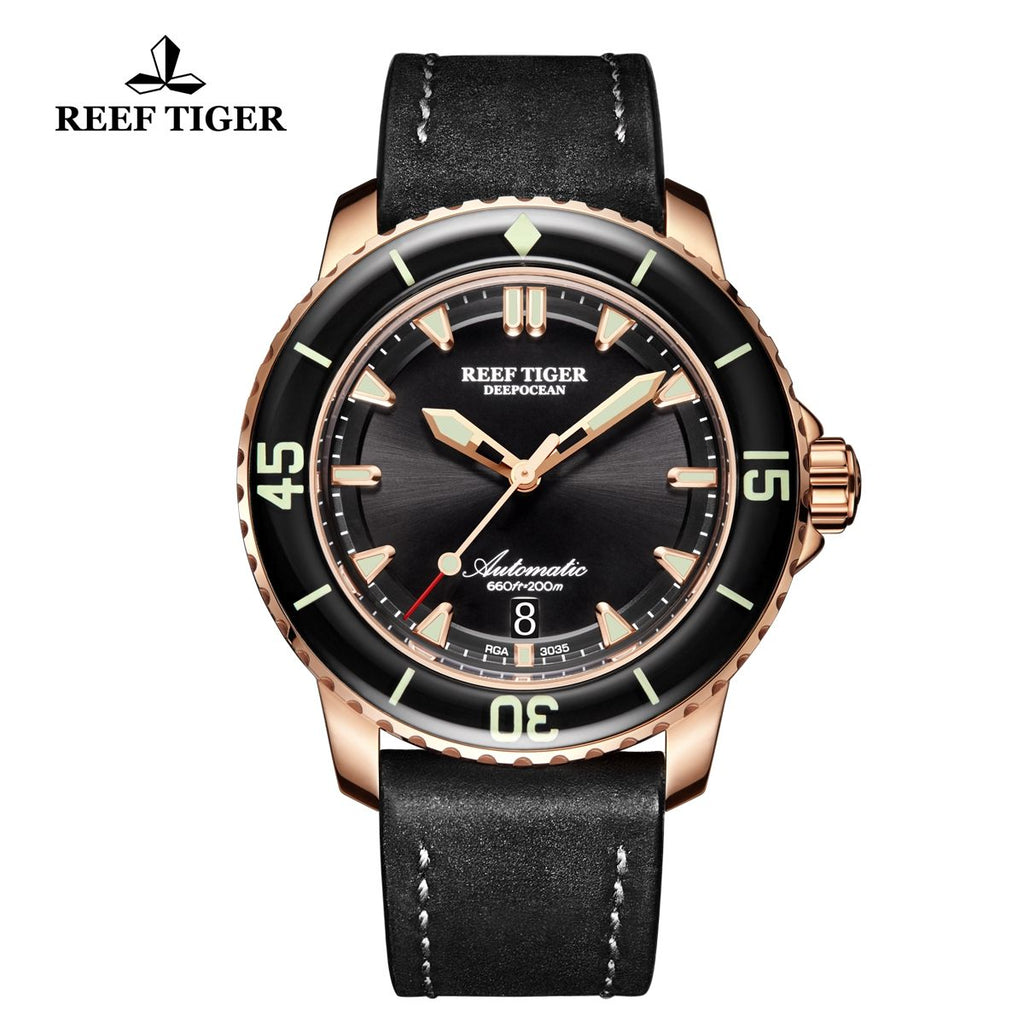 Reef Tiger Dive Automatic Blue Dial Rose Gold Watch with Leather Strap RGA3035-PLBC