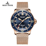 Reef Tiger Men's Super Luminous Automatic Dive Rose Gold Watch with Rose Gold Strap RGA3035-PLP