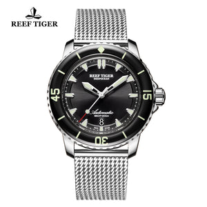 Reef Tiger Super Luminous Automatic Black Dial Watch with Stainless Steel Strap RGA3035-YBY
