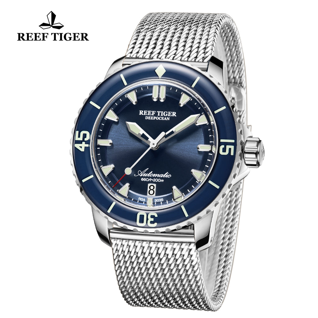 Reef Tiger Super Luminous Automatic Blue Dial Watch with Stainless Steel Strap RGA3035-YLY