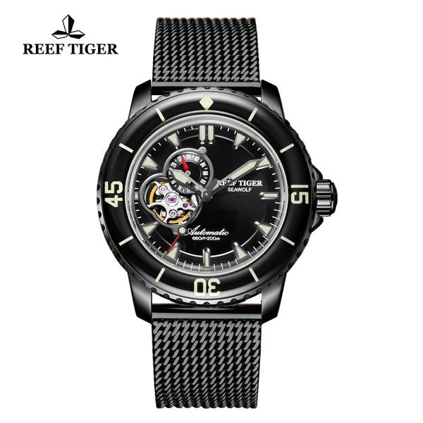 Reef Tiger Dive Watch For Men Super Luminous Black Steel Skeleton Sport BlackWatches RGA3039-BBBS