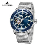 Reef Tiger Dive Watch For Men Super Luminous Steel Skeleton Blue Dial Sport Watches RGA3039-YLY