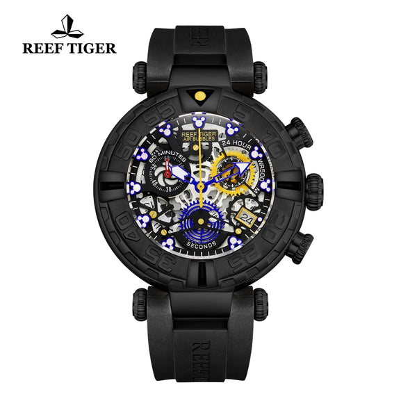 Reef Tiger Aurora Air Bubbles PVD Rubber Strap Watches RGA3059-S-BBBL