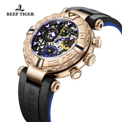 Reef Tiger Aurora Air Bubbles Rose Gold Rubber Strap Watches RGA3059-S-PBBL