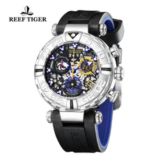 Reef Tiger Aurora Air Bubbles Steel Rubber Strap Watches RGA3059-S-YBBL
