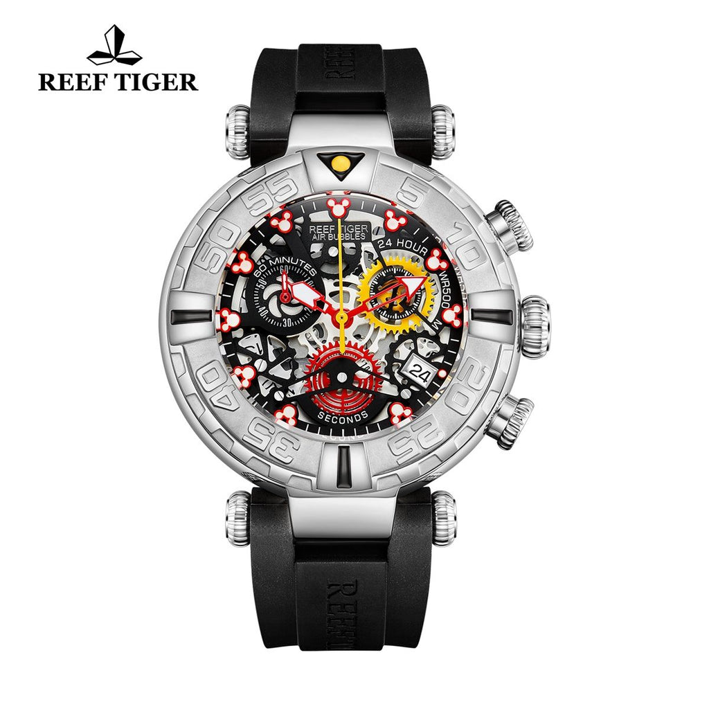 Reef Tiger Aurora Panda Steel Rubber Strap Watches RGA3059-S-YBBL