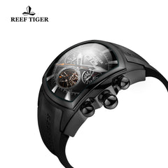 Reef Tiger Black Steel Luminous Tourbillon Wrist Watches Rubber Strap RGA3069