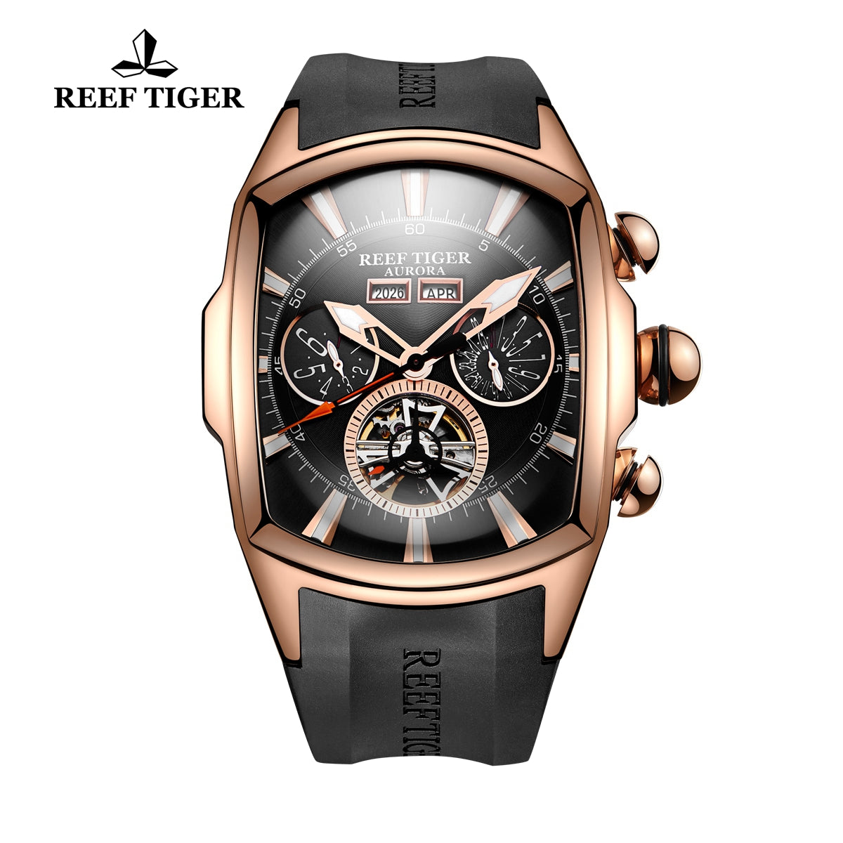 Reef Tiger Sport Rose Gold Tone Rubber Strap Tourbillon Watch RGA3069