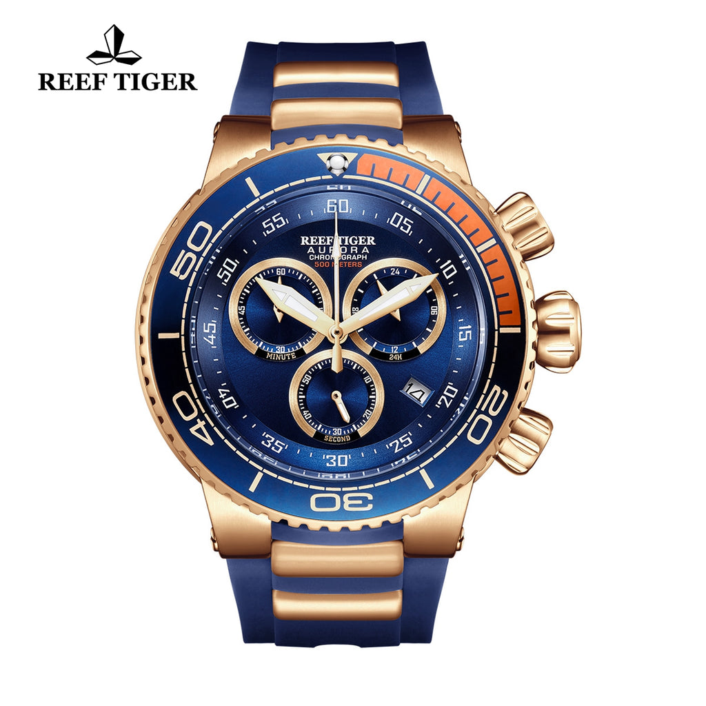 Reef Tiger Fashion Luxury Mens Rose Gold Watches RGA3168