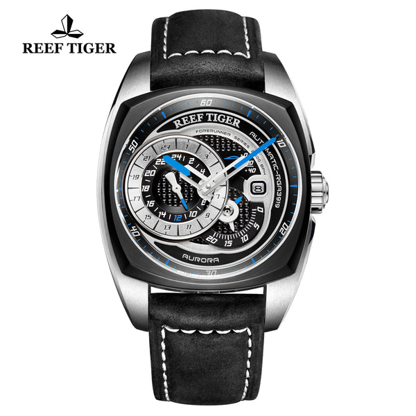 Reef Tiger Aurora Pioneer Fashion Black Dial Automatic PVD/Steel Men Watches RGA3319-TBBL