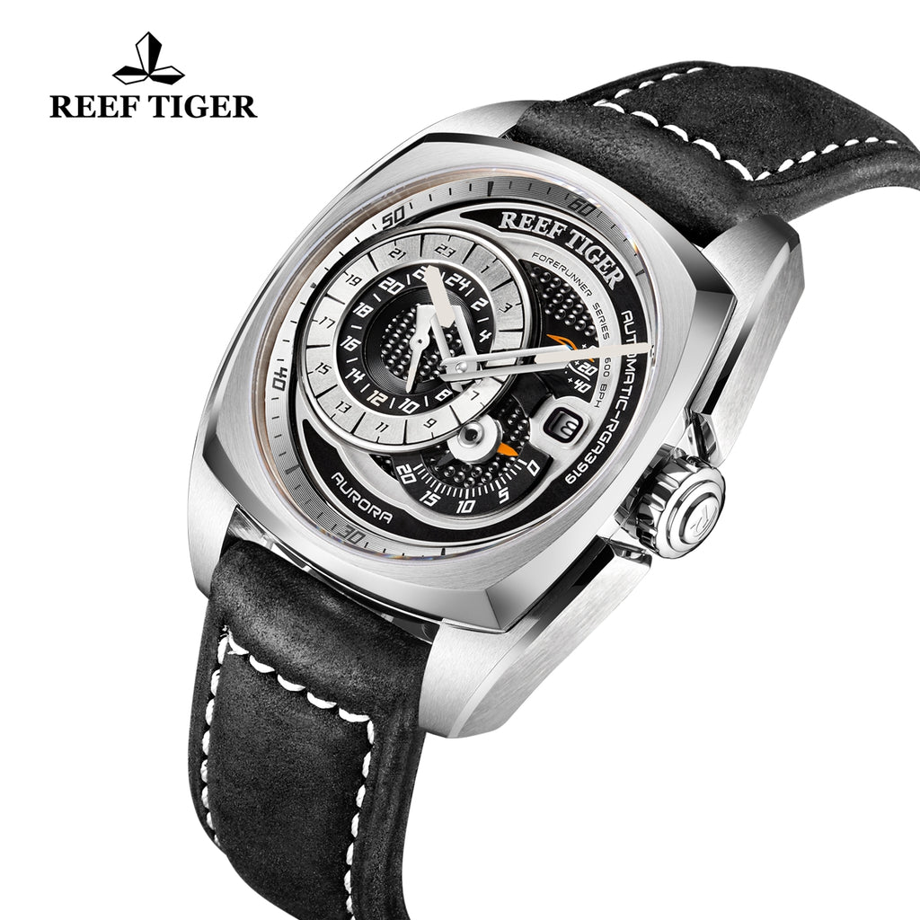 Reef Tiger Aurora Pioneer Fashion Black Dial Automatic Steel Men Watches RGA3319-YBB