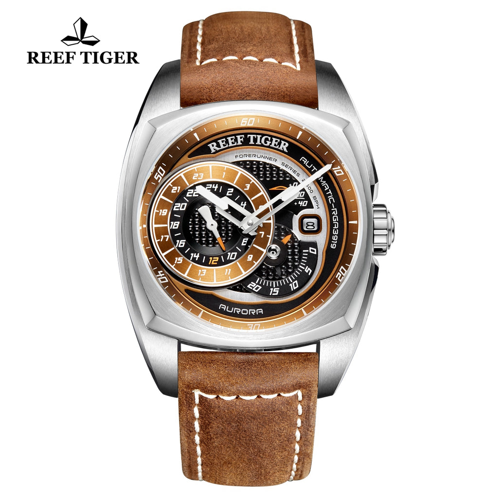 Reef Tiger Aurora Pioneer Fashion Steel Brown/Black Dial Automatic Men Watches RGA3319-YSS