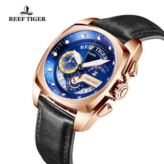 Reef Tiger Fashion Rose Gold Blue Dial Leather Strap Mens Watch RGA3363-PLB