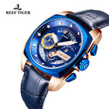Reef Tiger Fashion Rose Gold Blue Dial Leather Strap Mens Watch RGA3363-PLBL