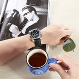 Reef Tiger Fashion Steel Black Dial Leather Strap Mens Watch RGA3363-YBB