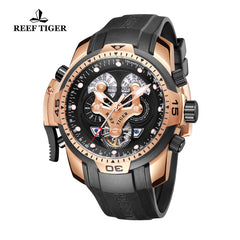 Reef Tiger Mens Complicated Rose Gold Automatic Black Dial Watch RGA3503