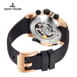 Reef Tiger Mens Complicated Black Dial Rose Gold Automatic Watch RGA3503