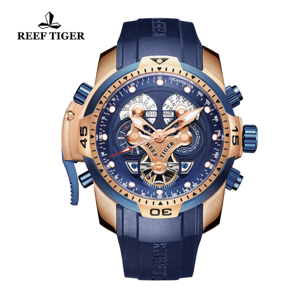 Reef Tiger Mens Complicated  Rose Gold Blue Dial Automatic Sport Watch with Date Day RGA3503