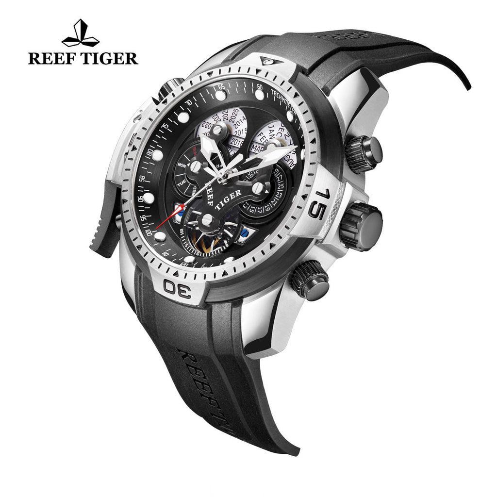 Reef Tiger Mens Complicated Black Dial Steel Automatic Watch RGA3503