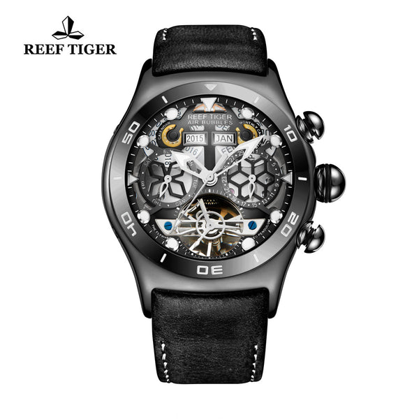 Reef Tiger Mens Sport Black Steel Skeleton Dial Watch with Date Day RGA703