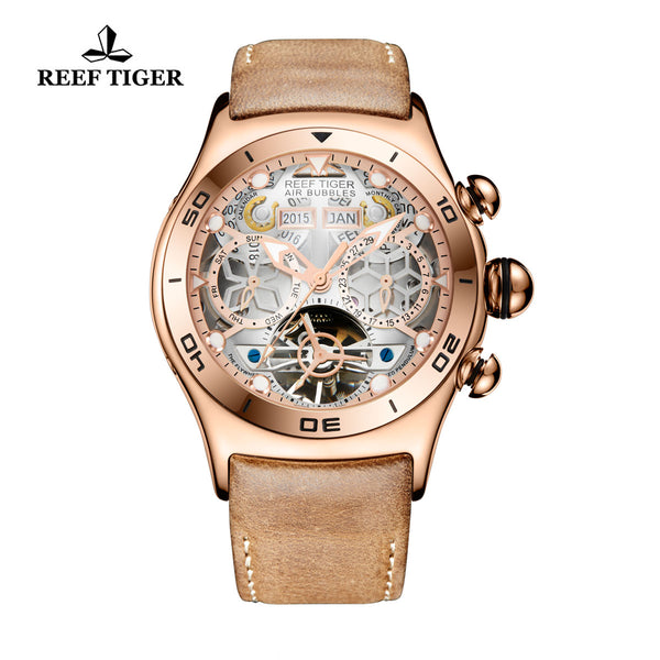 Reef Tiger Mens Sport Rose Gold White Skeleton Dial Watch with Date Day RGA703