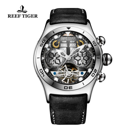 Reef Tiger Mens Sport Steel Skeleton Dial Watch with Date Day RGA703