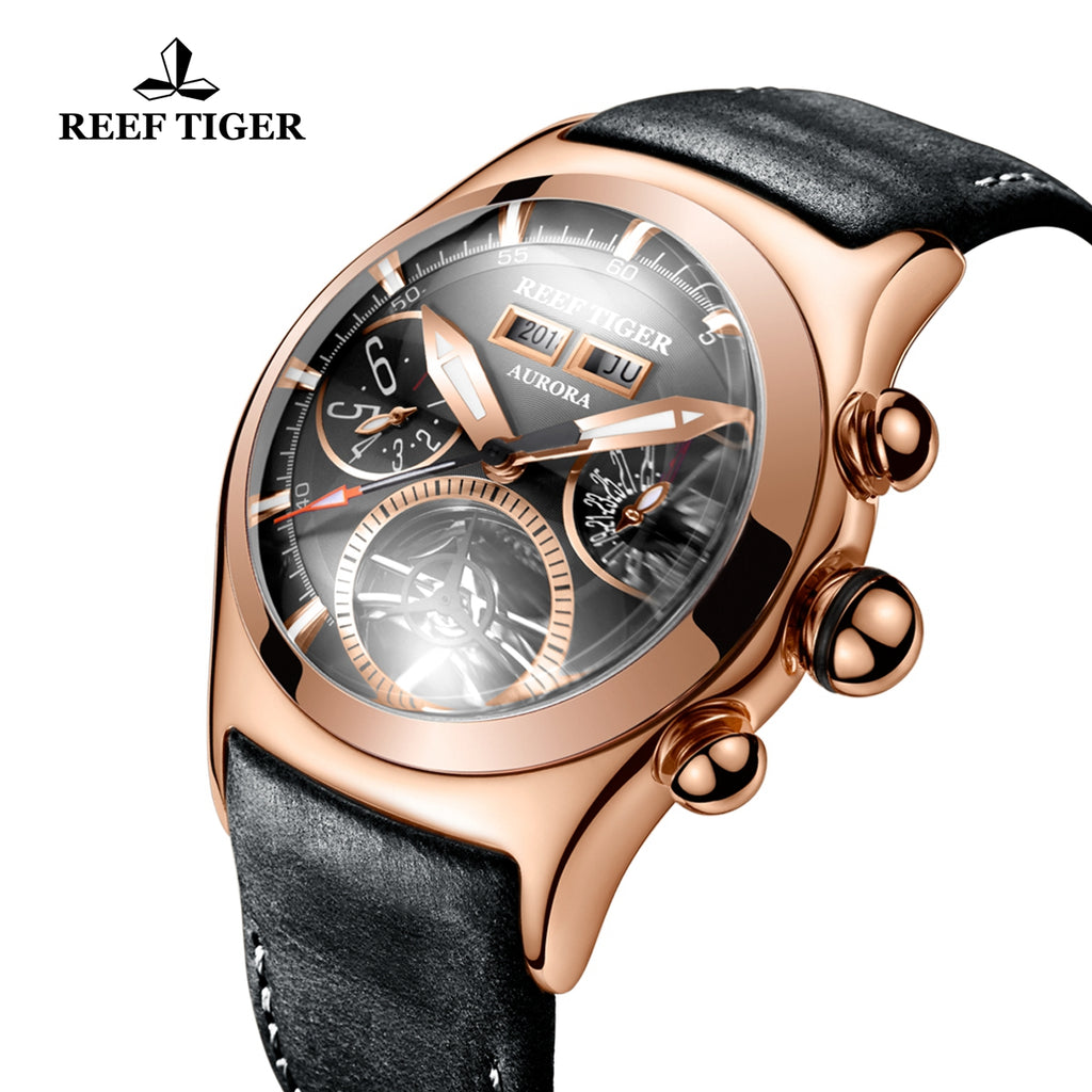 Reef Tiger Luxury Sport Watches for Men Rose Gold Tourbillon Automatic Watches RGA7503-PBB
