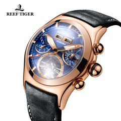 Reef Tiger Luxury Watches for Men Rose Gold Tourbillon Automatic Watches RGA7503-PLB