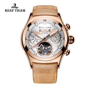 Reef Tiger Aurora Air Bubble II Luxury Mens Tourbillon White Dial Watches RGA7503-PWS