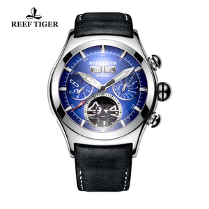 Reef Tiger Aurora Air Bubble II Fashion Blue Dial Tourbillon Sport Men Watches RGA7503-YLB