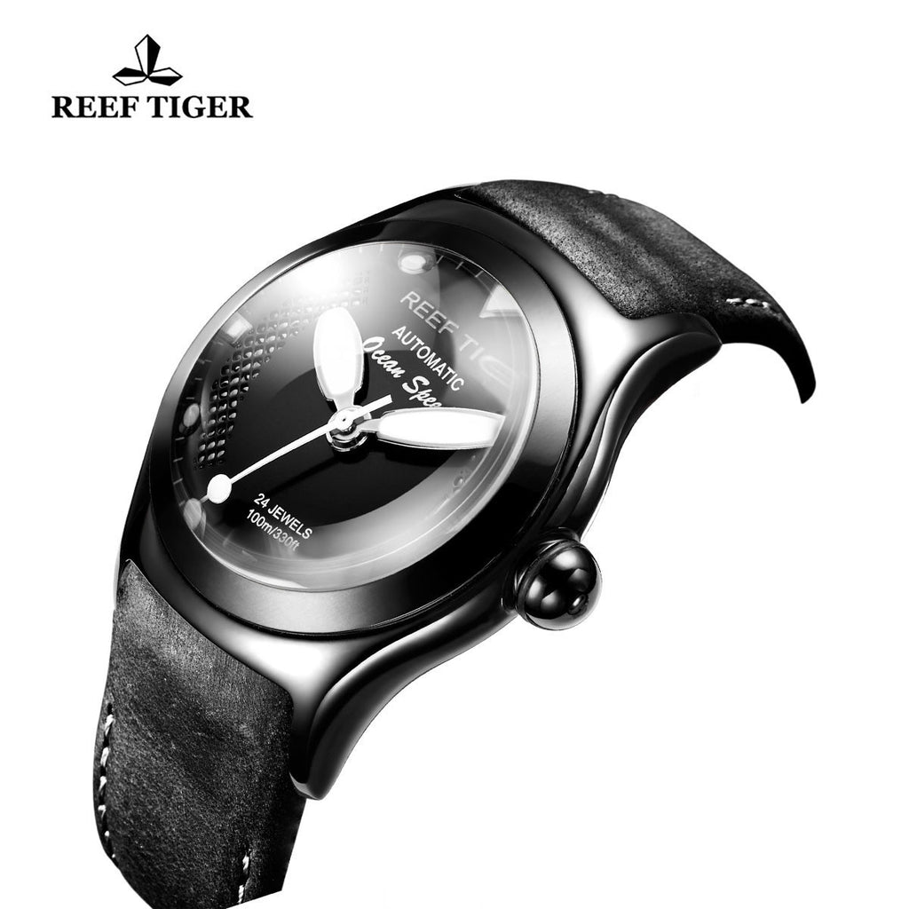 Reef Tiger Sport Date Black Steel White Luminous Markers Automatic Watch RGA704