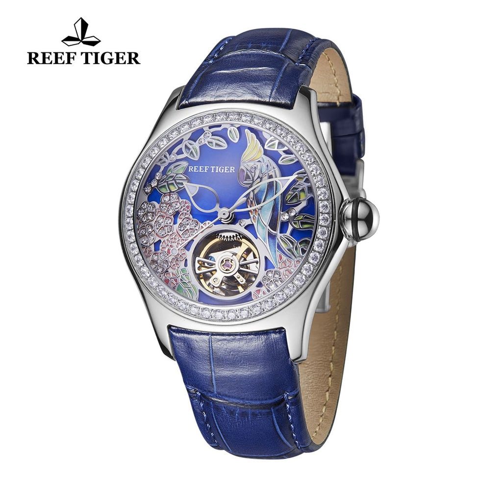 Reef Tiger Aurora Parrot Luxury Women Diamonds Bezel Automatic Watch with Leather Strap RGA7105