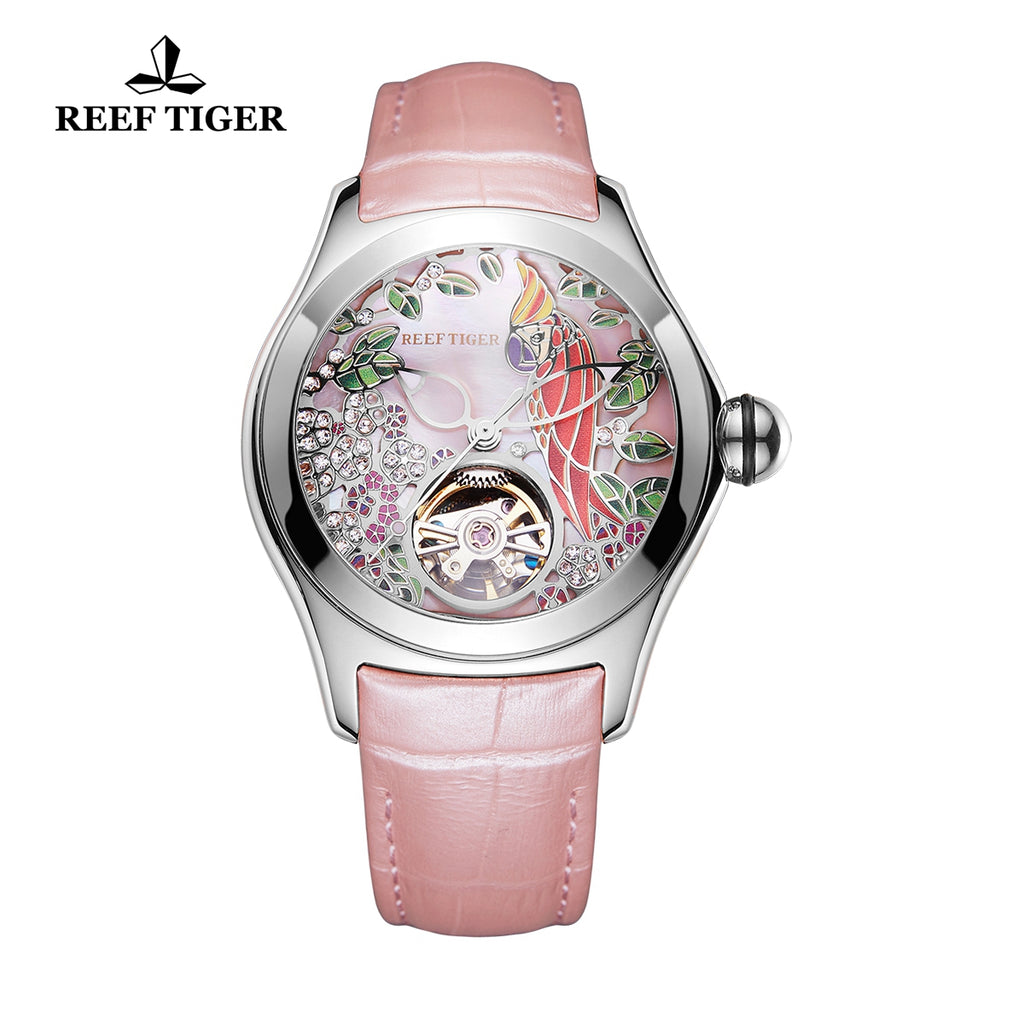 Reef Tiger Aurora Parrot RGA7105 Women Automatic Meachanical Leather Strap Wristwatches