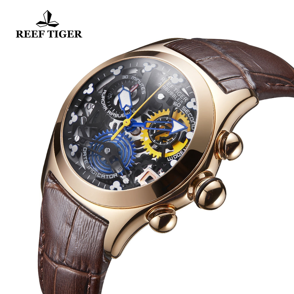 Reef Tiger Fashion Rose Gold Brown Leather Strap Womens Watch RGA7181