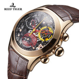 Reef Tiger Fashion Sport Rose Gold Leather Strap Womens Watch RGA7181