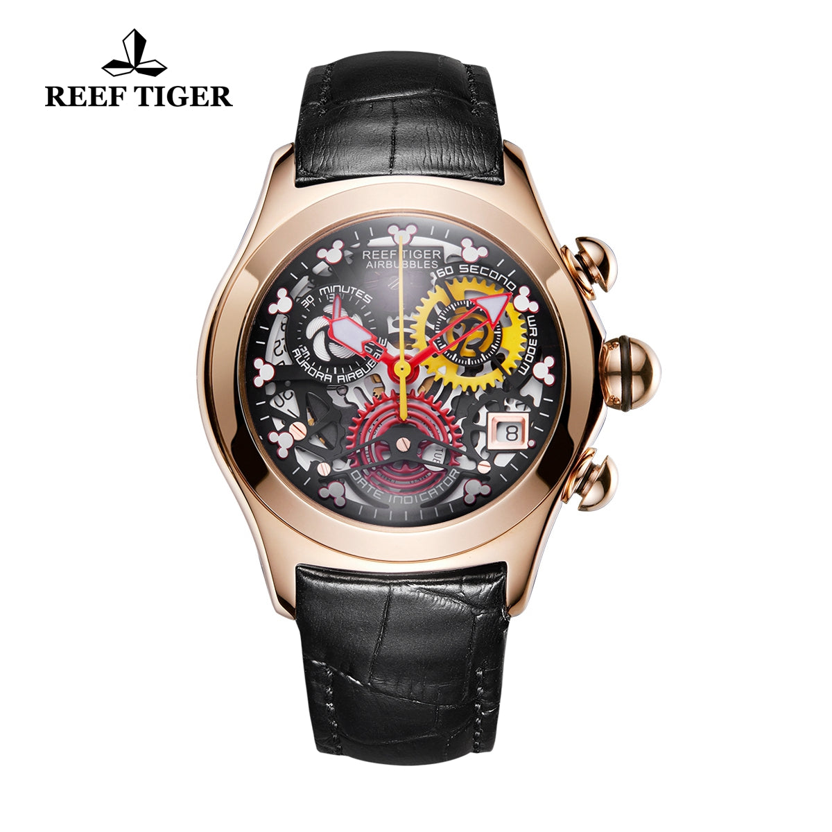 Reef Tiger Quartz Watches Rose Gold Skeleton Dial with Leather Strap Watch RGA7181